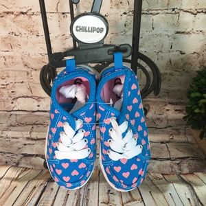 Chillipop Blue & Pink Heart Sneaker - Girls